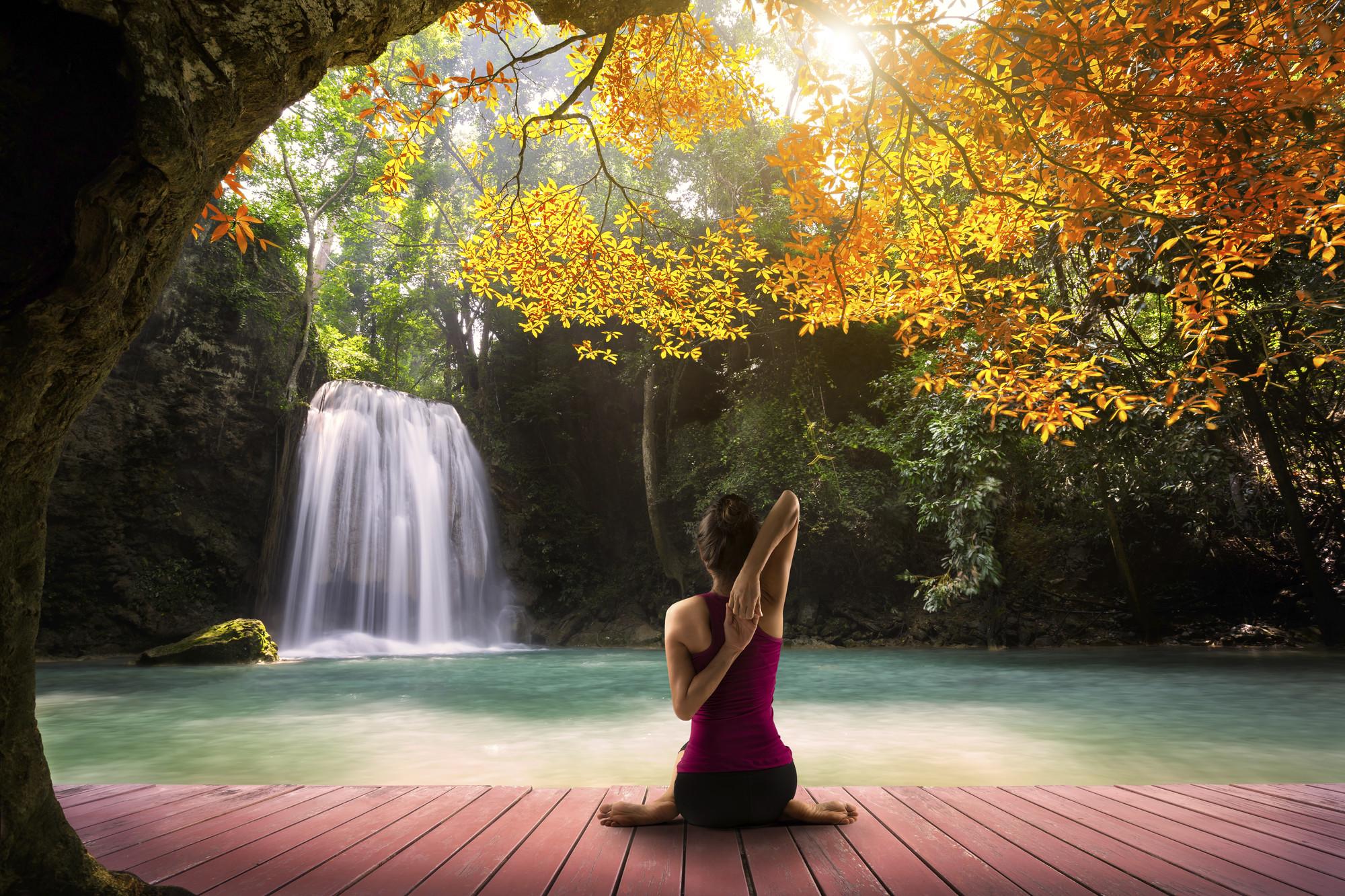 ung kvinna tränar yoga i skog