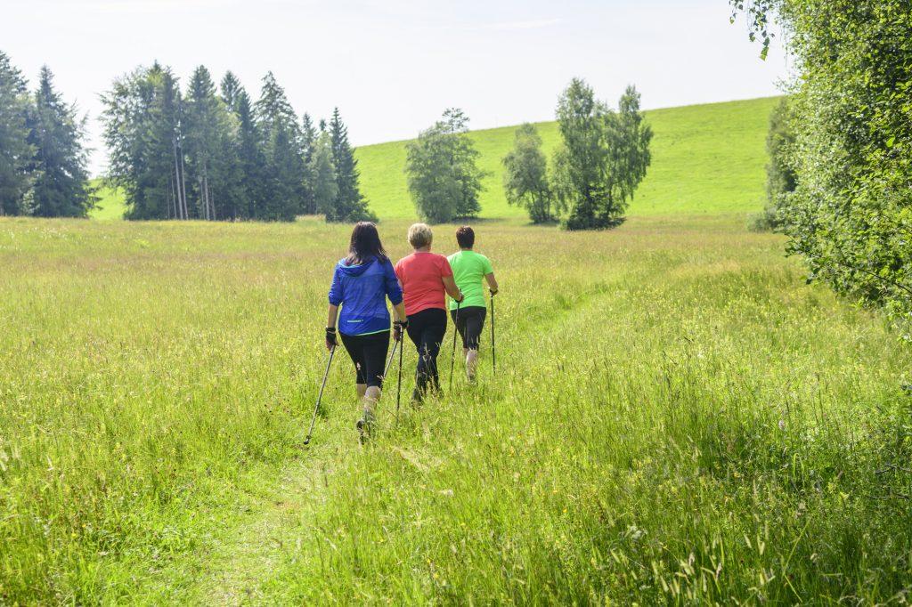 Tre kvinnor på fastevandring med stavar. Fasta för hälsan med motion.
