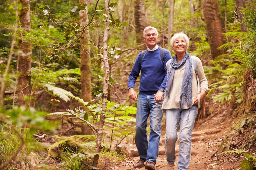 Äldre par på promenad tar chansen att skogsbada.