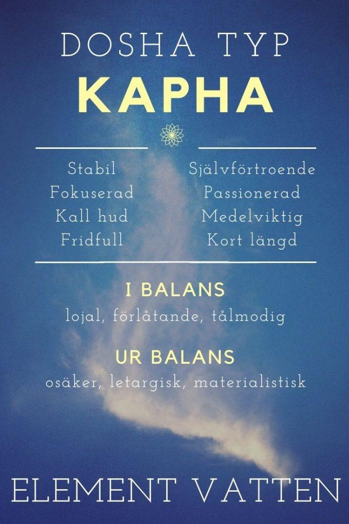 översikt över kännetecken för Kapha dosha