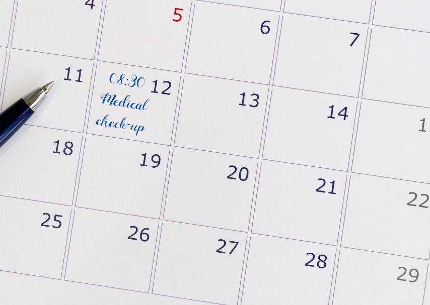Kalender med tid för preventionsundersökning - förebyggande hälsovård